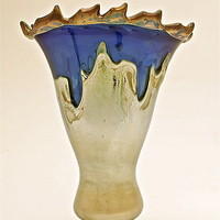 Silver Blue Overlay Vase with Iris Lip Wrap by Dierk Van Keppel: Art Glass Vase - Artful Home