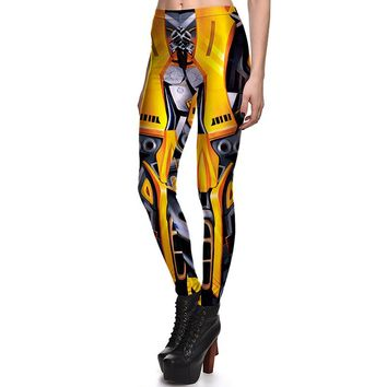 New 3831 Sexy Girl Mecha Iron Man Golden Camera Cosplay Printed Elastic Fitness Polyester Workout Women Leggings Pants Plus Size