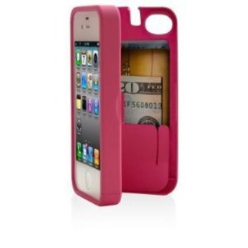 Pink Case for iPhone 4/4S with built-in storage space for credit cards/ID/money, by EYN (Everything You Need): Cell Phones & Accessories