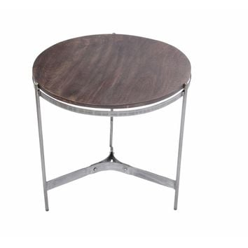 Round Metal End Table With Three Legs, Brown And Silver
