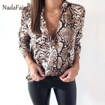 Collarless Snake Skin Print Blouse