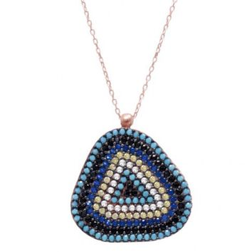 RoseGold plated Evil Eye Necklace w/ Nano Turquoise - Sterling Silver