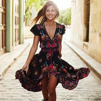 Boho Summer Dress Women Vintage Ethnic Floral Print V Neck Female Party Long Maxi Dress Casual Vestido Largo Robe Longue Wyz7182 - Beauty Ticks