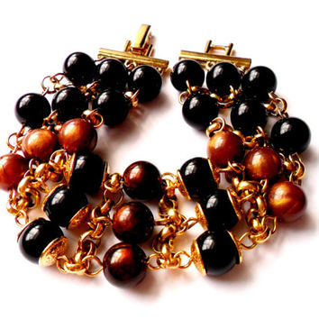 Vintage Lucite Bead Bracelet - Black Chocolate Brown Pearl - Gold Tone Metal - Multi Strand Beaded Chain - Plastic Metal - Warm Fall Autumn