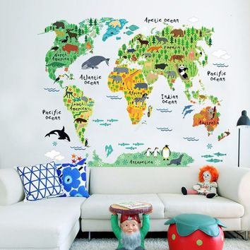 95x73cm Animal World Map PVC Removable Wall Sticker Decal Kids Children Bedroom Nursery Mural Home Decor