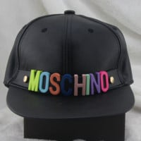 Moschino color metal letter badge decorative leather baseball hat cap