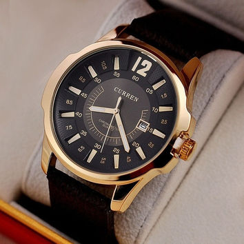NEW Curren Brand DIAL CLOCK HOURS HAND DATE BROWN LEATHER STRAP MENS WRIST WATCHES 3ATM Waterproof [8425777287]