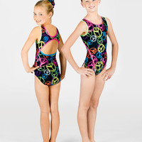 Free Shipping - Child Neon Peace Gymnastic Tank Leotard by PERFECT BALANCE