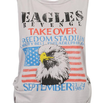 Gray Eagle And American Flag Print Knot Side Vest