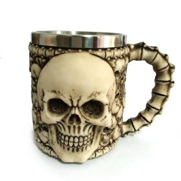 Skull Tankard Coffee Mug Cup Creepy