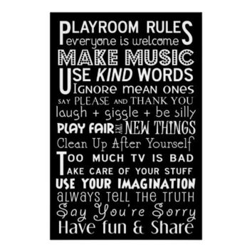 Playroom Rules Subway Art Poster from Zazzle.com