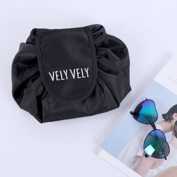 VONEV0G Makeup bag large capacity portable draw line receive the magic travel simple cosmetic bag.