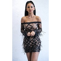 Disorderly Conduct Black Long Bell Sleeve Off the Shoulder Lace Diamond Geometric Pattern Sequin Feather Bodycon Mini Dress