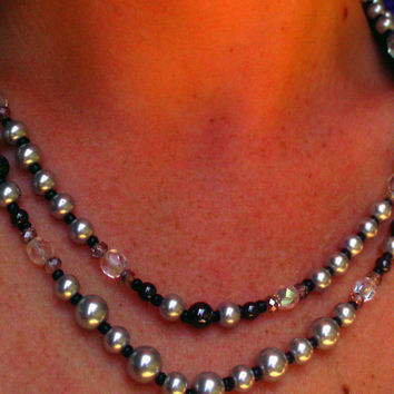 Silver Pearl and Hematite Double Strand Necklace