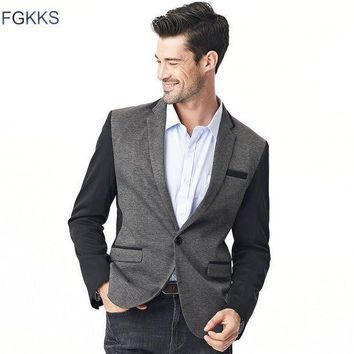 Fgkks 2017 New Arrival Brand Clothing Masculine Blazer Men Fashion Solid Color Male Suits Casual Suit Blazer Male Plus Size