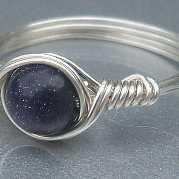 Blue Goldstone Ring- Custom Sized in Sterling Silver Wire Wrapped