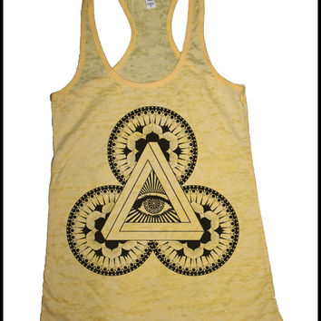 Women's Power of 3 Illuminati Mandala Psychedelic Screen Printed Tank Sacred Geometry