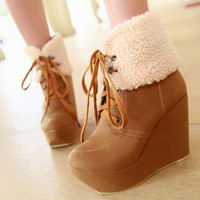 YESSTYLE: Smoothie- Fleece-Trim Lace-Up Wedge Boots - Free International Shipping on orders over $150