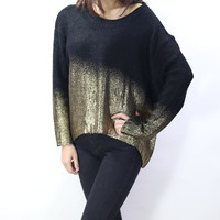 Plus Size Knit Tops Batwing Sleeve Pullover Round-neck Sweater [9022427140]