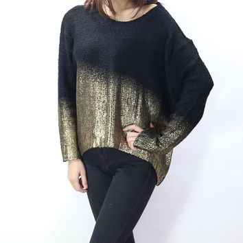 Plus Size Knit Tops Batwing Sleeve Pullover Round-neck Sweater [9108917639]