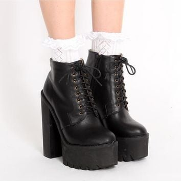Ark Black Beth Lace Up Platform Boots | ARK