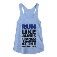 run like james franco is at the finish line-Athletic Blue Tank