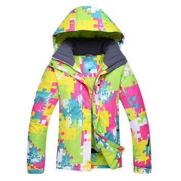 New Band Women Skiing Jacket Outdoor Thicken Snowboarding Jacket Waterproof Windproof Outerwear Hooded Ski Coats WY006