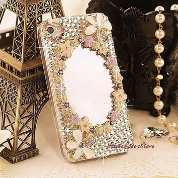 Handmade iPhone Case For iPhone 5 mirror iphone case Rhinestones Crystal Charms bling iphone case pink iPhone 5 Case flower iphone 4 case