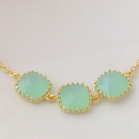 Mint Necklace, Mint Green Necklace, Mint Wedding, Gold Filled Chain, Mint Green Jewelry, Gift For Best Friend, Unique Christmas Gift For Her