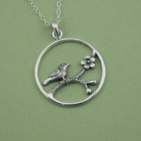 Songbird Cherry Blossom Necklace 925 Solid Sterling Silver Bird Pendant