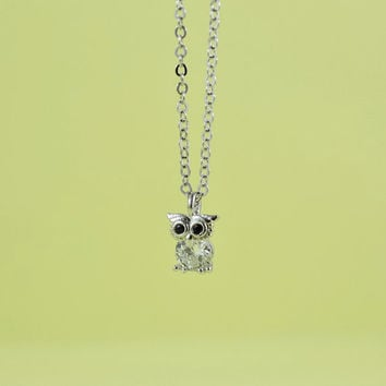 Cute Owl Necklace, Rhodium Plated Brass, Cubic Zirconia, Delicate Chain, Everyday Wear, Perfect Gift