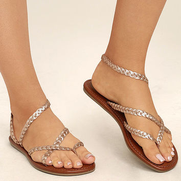 Mia Braid Rose Gold Leather Thong Sandals