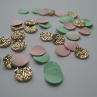 Tiny Pink and Mint Wedding Confetti Bronze Glitter Wedding Decor Wedding Table Scatter Wedding Table Glitter Wedding Reception Party Decor
