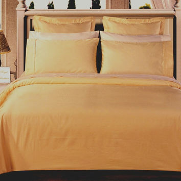 Gold Solid Down Alternative 4-pc Comforter Set 100% Egyptian cotton 550 Thread count