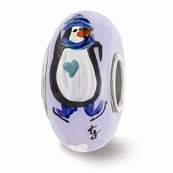 Fenton Blue Hand Painted Penguin Glass & Sterling Silver Charm