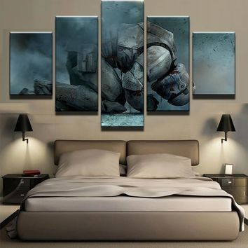 5 Panel Kneeling White Soldiers Star Wars Painting Canvas Wall Art Picture Home Decor Living Room Canvas Print Modern Painting