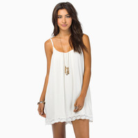 Sleeveless Pleated Casual Chiffon Mini Dress with Lace Accent