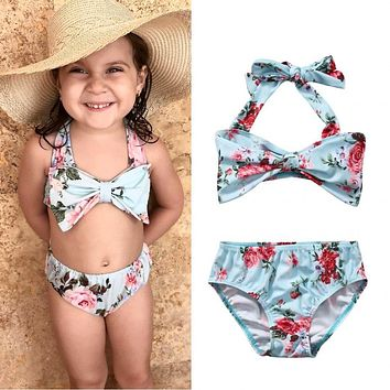 Adorable Kids Girls Clothing Set Floral Bikini Set Swimwear Swimsuit Bow Cute Bathing Swimming Baby Girl Clothes Suit