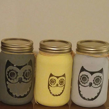 Owl painted mason jars-owl decor-painted mason jars-mason jar decor