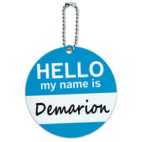 Demarion Hello My Name Is Round ID Card Luggage Tag