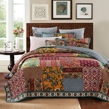 DaDa Bedding 100% Cotton Dark Elegance Floral Patchwork Quilt Cover Set, Cal King, King, Queen, Twin, 2-3 Pieces
