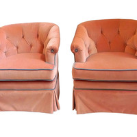 1950s Velvet Henredon Chairs,  Pair
