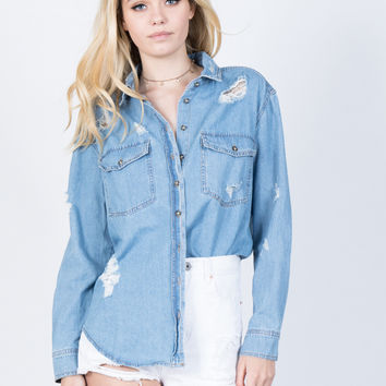 Torn Up Denim Top