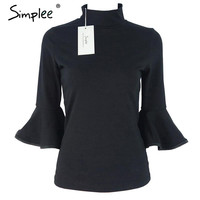 Simplee Flare sleeve black girls blouse shirt Women tops Autumn winter cotton chic turtleneck blusas OL cool turtleneck blouses