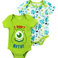 Monsters Inc. Infant Lime 2 pk Bodysuits 040000MN (6/9M)