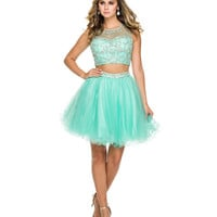 Mint Green Beaded Two Piece Dress 2015 Homecoming Dresses