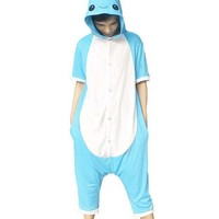 LMFON Animal Onesuit Cosplay Costume Unisex Adult Kids Blue Narwhal Pajamas Jumpsuit Child Short Sleeves Summer