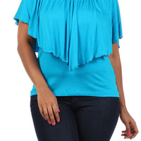 Plus Size Turquoise Layered Top