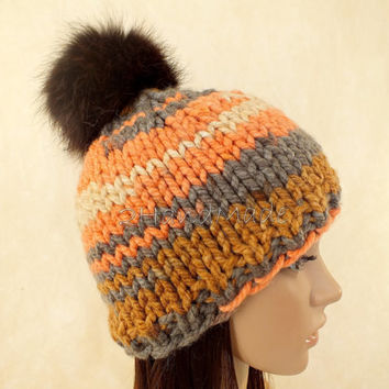Super Chunky Hand Knit Hat Merino Wool Beanie Rain Ribbed Skull Cap Striped Unisex Colorful Men Women Teens Pom Pom