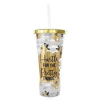 Purple Lemonade Tumbler With Straw 22 oz - Hustle For The Pretty Things - Gold Collection